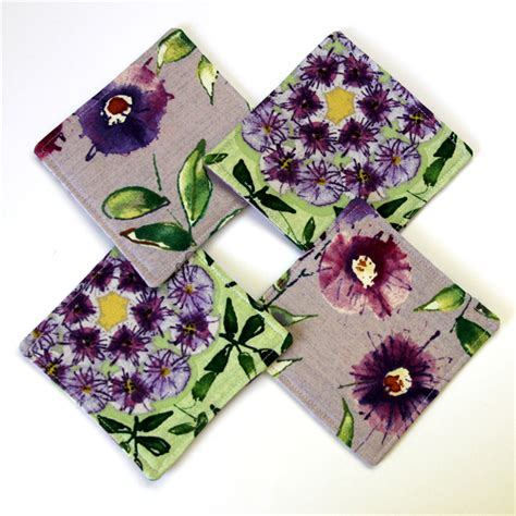 Wisteria Patchwork - quilted patchwork tea cosy coaster set purple wisteria