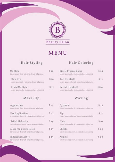 15 Eye Catching Salon Menu Templates Psd Ai Free Premium Templates Hair Salon Menu Templates