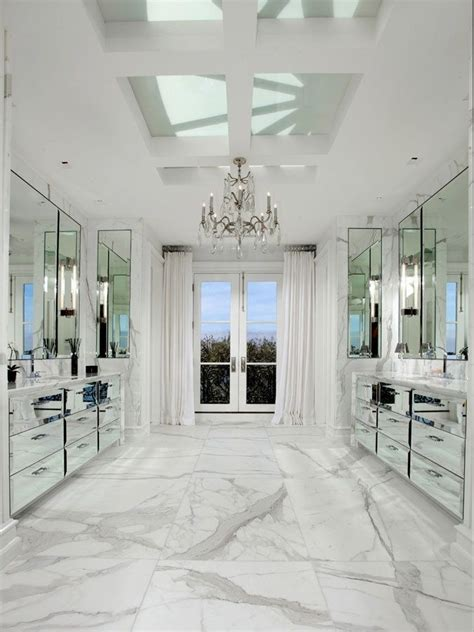 all marble bathroom 167 mirrored vanity cabinets white carrara marble floors and