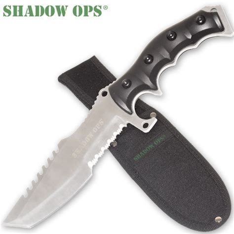 survival combat knife 11 quot shadow ops silver survival combat knife w belt