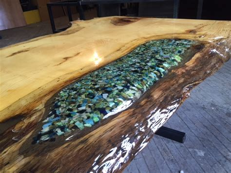 Live Edge Pine Table w/ Glass Inlay   Algin Office Furniture