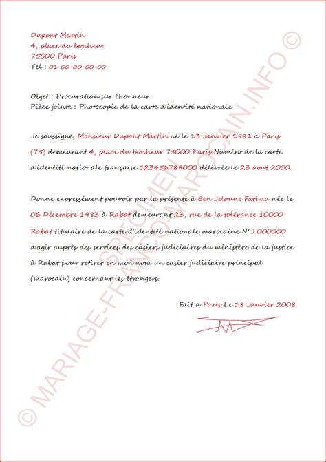 Exemple Lettre De Procuration Maroc Modele Procuration Retrait Casier Judiciaire Document