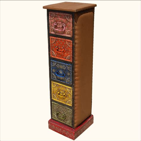 Wooden Storage Tower With Drawers by Painted Leather Wooden 5 Storage Drawer Pillbox