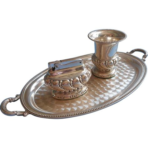 Lighter Mobil Crown Silver set ronson lighter tray cigarette urn vintage silver crown mercy maude ruby