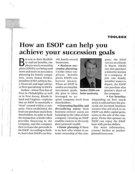 How An Mba Will Help Achieve Work Goals by How An Esop Can Help You Achieve Your Succession Goals