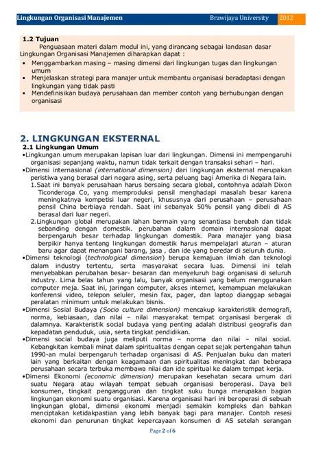 Modul Ut Manajemen Perilaku Organisasi 3 lingkungan organisasi manajemen