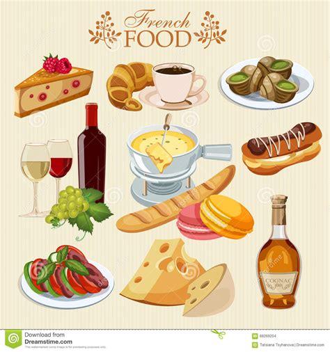 les fran軋is et la cuisine vector set of cuisine national food of