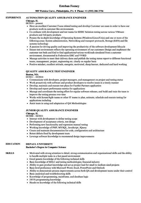Quality Resume by Quality Assurance Engineer Quality Resume Sles