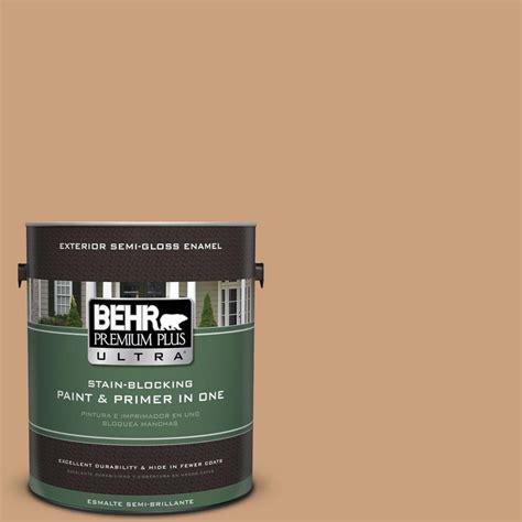 behr premium plus ultra 1 gal 270f 4 peanut butter semi gloss enamel exterior paint 585401