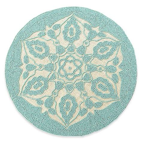 blue beaded placemats beaded placemat in jute blue bed bath beyond