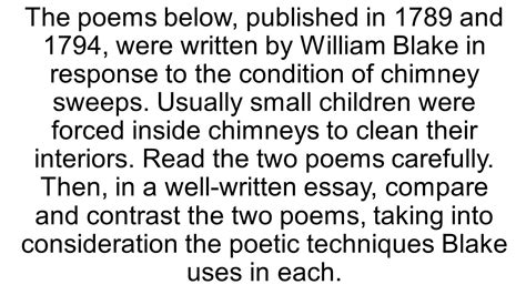 Chimney Sweep Essay by Compare And Contrast Essay With S Chimney Sweeper Poems Ppt