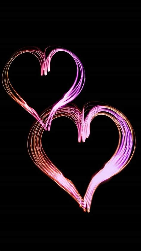 pink hearts black background cute wallpapers iphone