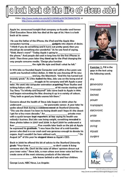 biography of steve jobs for students sms message dictionary worksheet free esl printable