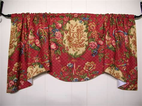 red rooster curtains waverly saison de printempts red rooster toile valance