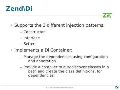 dependency injection constructor vs setter zend framework 2 quick start