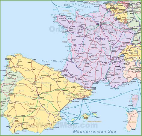 map of spain map of spain and