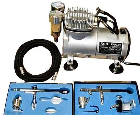 foxhunter kms airbrush kit as18 with compressor and 2 x airbrushes and hose
