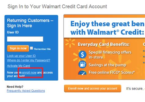 walmart credit card login make payment walmart credit cards login page