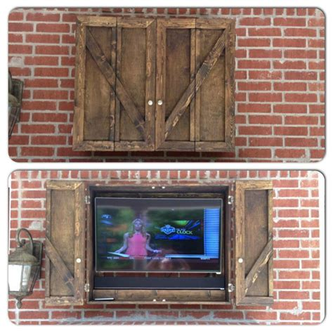 Barn Door Tv Cover Our New Custom Outdoor Tv Cabinet Ideas For Patio Cabinets Outdoor Tv Covers