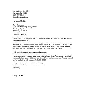 Sle Letter Leaving Apartment Sle Business Letter Intent To Vacate Letter Template