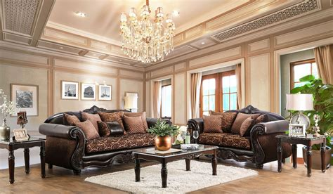 brown living room set elpis brown living room set from furniture of america