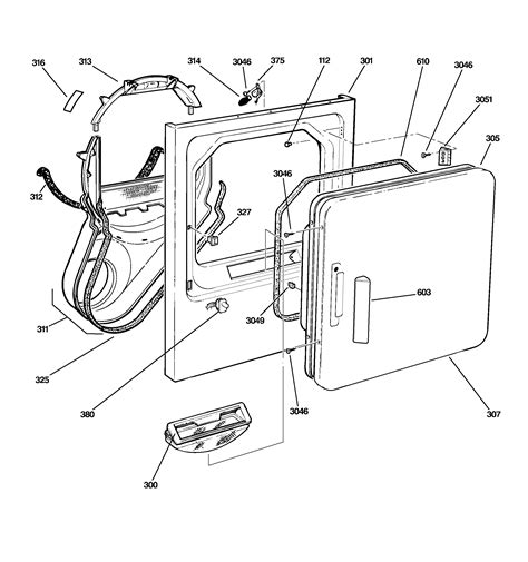 ge profile dryer parts diagram front panel door diagram parts list for model