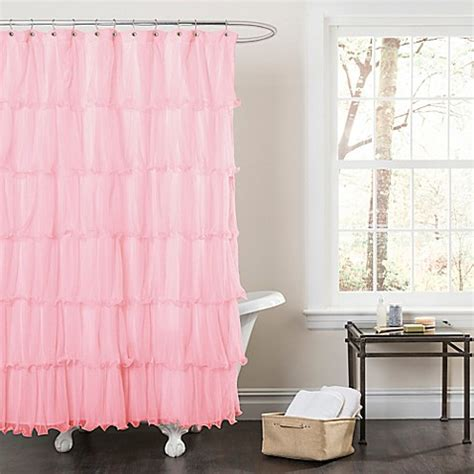 Pink Ruffle Curtains Buy Nerina Sheer Ruffle Shower Curtain In Pink From Bed Bath Beyond