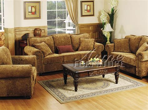 Set Of Living Room Chairs The Furniture Traditional Chenille Living Room Set From Collection By Acme Furniture