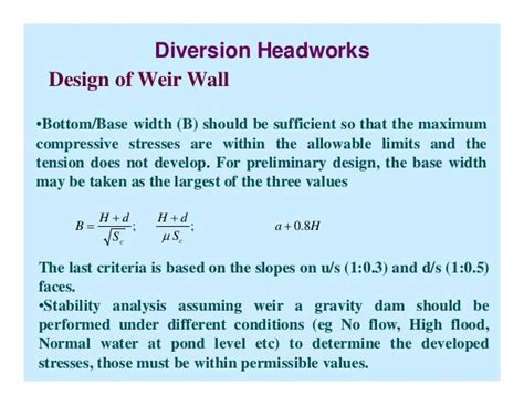 design criteria of hydraulic structures design of hydraulic structures