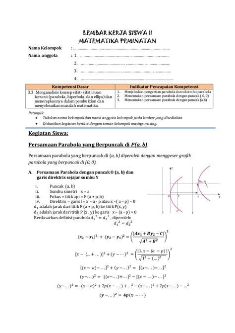Lks Kurikulum 2013 by Lks Kurikulum 2013 Parabola Puncak A B