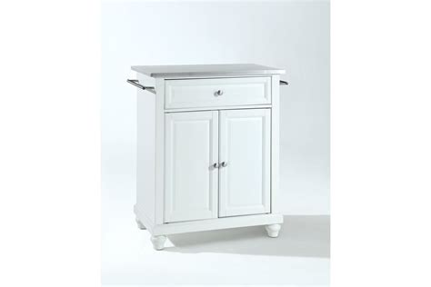 white kitchen island with stainless steel top cambridge stainless steel top portable kitchen island in white finish by crosley bo