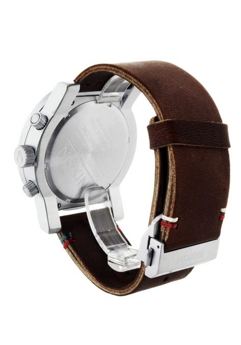 Nixon Charger Leather Gunmetal Silver Brown A10772665 nixon the magnacon leather ii black brown a458019 nur 349 00