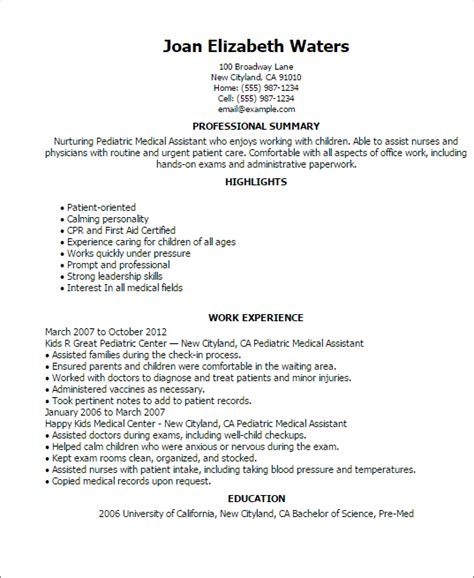 Pediatric Resume Objective Professional Pediatric Assistant Templates To Showcase Your Talent Myperfectresume