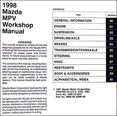 service repair manual free download 1998 mazda mpv electronic valve timing service manual service and repair manuals 1998 mazda mpv electronic throttle control mazda
