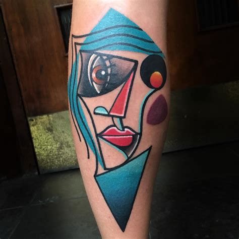 picasso tattoo artist brightly colored abstract tattoos influenced by cubism