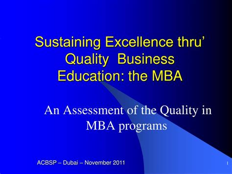 Education Mba by Ppt Sustaining Excellence Thru Quality Business