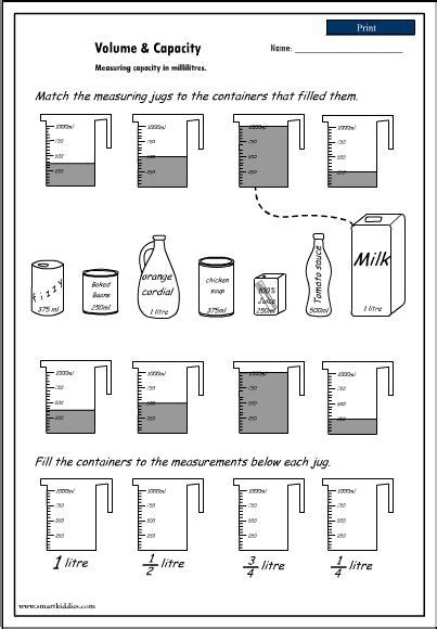 Reading Volume Worksheet by Volume And Capacity Worksheet Measurement