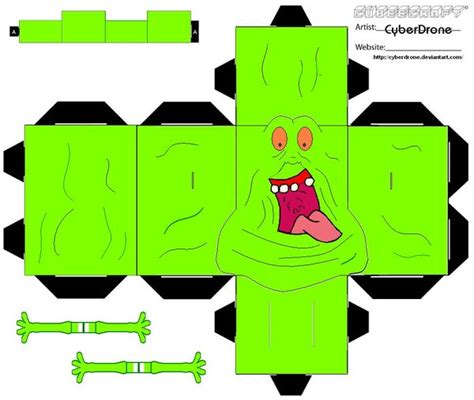 Ghostbusters Papercraft - cubee slimer ver2 by cyberdrone on deviantart