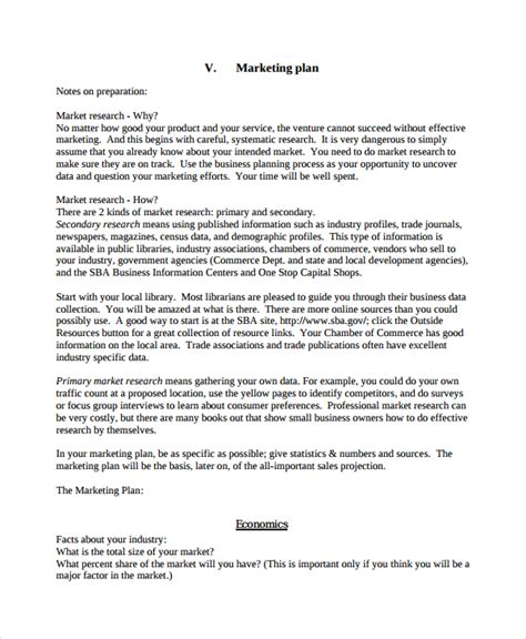 business and marketing plan template sle personal business plan template 7 free documents