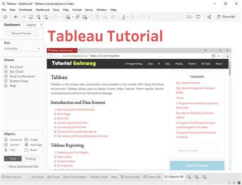 tableau gateway tutorial tableau dashboard objects