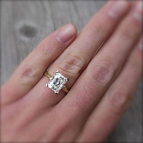 Emerald Cut Moissanite Branch Engagement Ring White