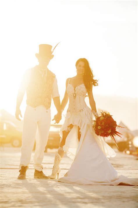 victorian inspired burning man wedding rock  roll bride