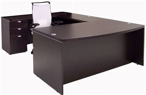 espresso u shaped desk espresso bow front u shape ofco office furniture
