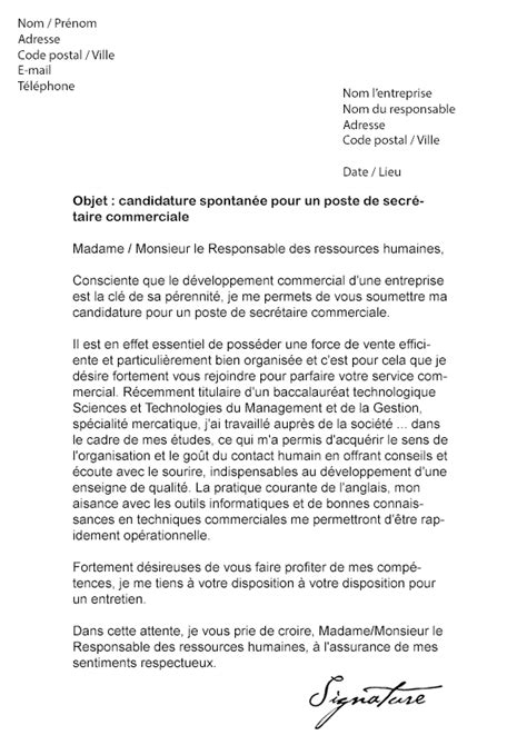 Exemple Lettre De Motivation Responsable Commercial Lettre De Motivation Secr 233 Taire Commerciale Mod 232 Le De Lettre