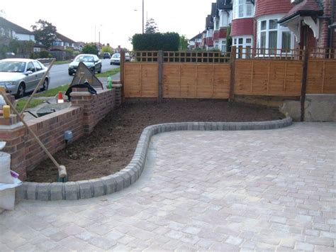 Brick Patio Contractors Www Hillcontractors Co Uk Drive With Flower Beds Side