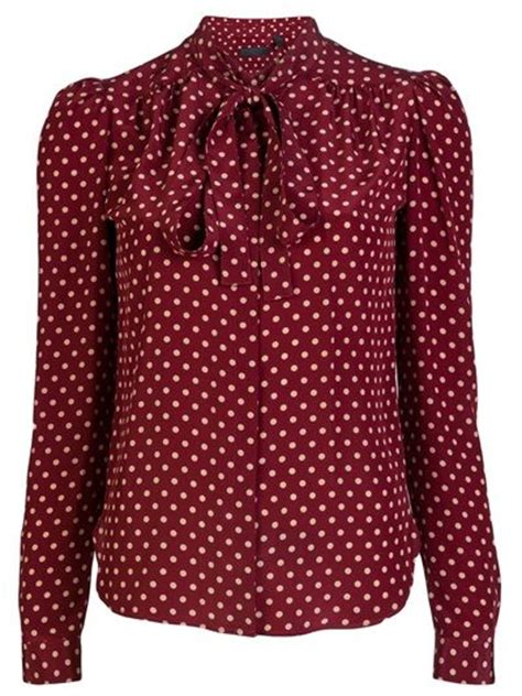 Gef Maroon Dotted Button Blouse polka dot blouse in burgundy fashion