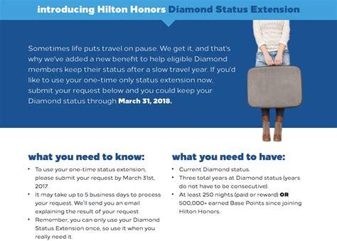 hilton honors diamond status how to use hilton honors diamond status extension