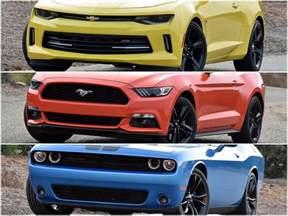 Dodge Challenger Vs Camaro Dna 3 Way Camaro Vs Mustang Vs Challenger Ny Daily News