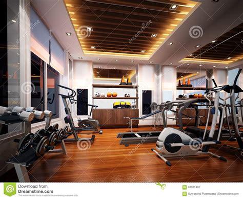 3d render of interior fitness room stock illustration