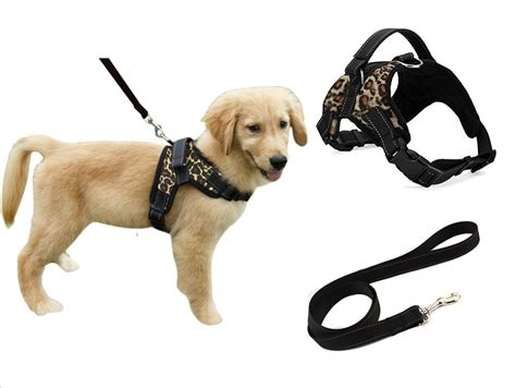 with leash heavy duty adjustable pet puppy safety harness with leash